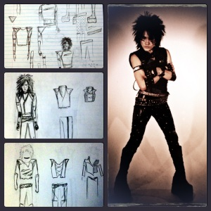 The original sketches and photo of the first band designs Ashley created.